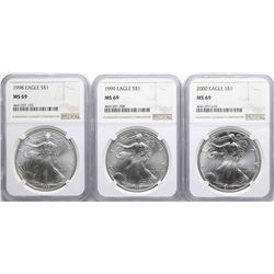 Lot of 1998-2000 $1 American Silver Eagle Coins NGC MS69