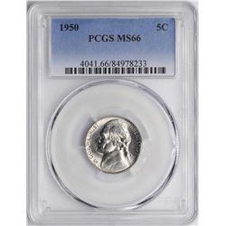 1950 Jefferson Nickel Coin PCGS MS66