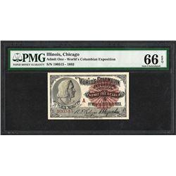 1893 World's Columbian Exposition Ticket Columbus PMG Gem Uncirculated 66EPQ