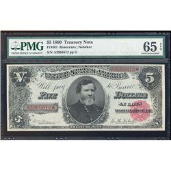 1890 $5 Treasury Note Fr.361 PMG Gem Uncirculated 65EPQ