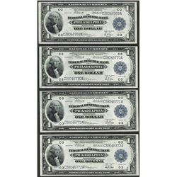 Lot of (4) Consecutive 1918 $1 Federal Reserve Bank Notes Philadelphia