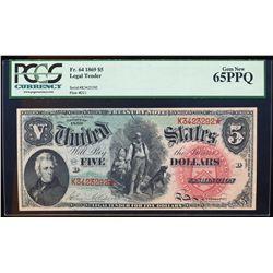 1869 $5 Rainbow Legal Tender Note Fr.64 PCGS Gem New 65PPQ