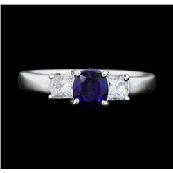 14KT White Gold 0.85 ct. Natural Blue Sapphire and Diamond Ring