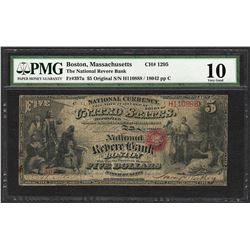 First Series $5 National Reserve Bank Boston, MA CH# 1295 National Currency Note