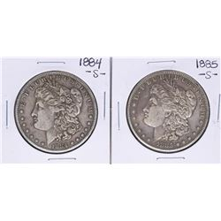 Lot of 1884-S & 1885-S $1 Morgan Silver Dollar Coins