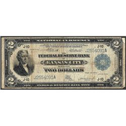 1918 $2 Battleship Federal Reserve Bank Note Kansas City