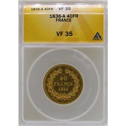 1836-A France 40 Francs Gold Coin ANACS VF35