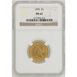 1899 $5 Liberty Head Half Eagle Gold Coin NGC MS62