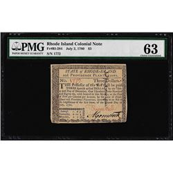 Jul 2, 1780 $3 Rhode Island Colonial Currency Note PMG Choice Uncirculated 63
