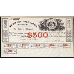 1861 $500 State of Missouri Defence Bond