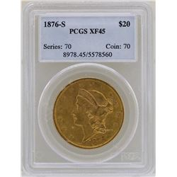 1876-S $20 Liberty Head Double Eagle Gold Coin PCGS XF45