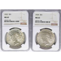 Lot of 1922 & 1924 $1 Peace Silver Dollar Coins NGC MS63
