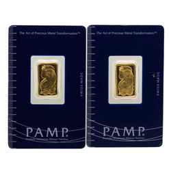Lot of (2) Suisse 5 Gram Fine Gold Pamp Gold Bars