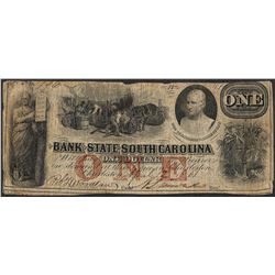 1861 $1 Bank of the State of South Carolina Obsolete Note