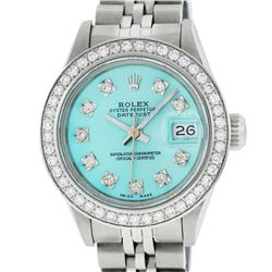 Rolex Ladies Stainless Steel Ice Blue Diamond 26MM Datejust Watch