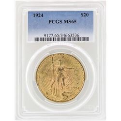 1924 $20 St. Gaudens Double Eagle Gold Coin PCGS MS65