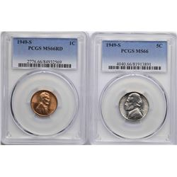 Lot of 1949-S Lincoln Wheat Cent & 1949-S Jefferson Nickel Coins PCGS MS66
