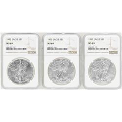 Lot of (3) $1 American Silver Eagle Coins NGC MS69