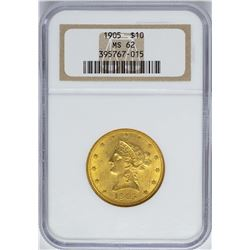 1905 $10 Liberty Head Eagle Gold Coin NGC MS62