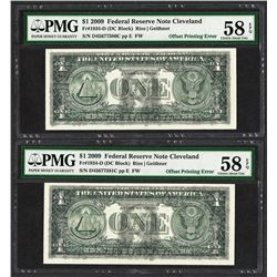 (2) Consec. 2009 $1 Federal Reserve Notes Offset Printing ERROR PMG Choice AU 58