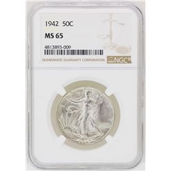 1942 Walking Liberty Half Dollar Coin NGC MS65