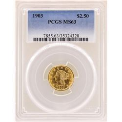 1903 $2 1/2 Liberty Head Quarter Eagle Gold Coin PCGS MS63
