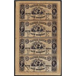 Uncut Sheet of $5 Canal Bank New Orleans Obsolete Notes