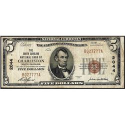 1929 $5 NB of Charleston, South Carolina CH# 2044 National Currency Note