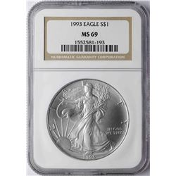 1993 $1 American Silver Eagle Coin NGC MS69