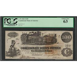 1862 $100 Confederate States of America Note T-39 PCGS New 63