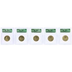 Lot of (5) 2002 Sacagawea Dollar Coins ICG MS67