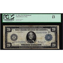 1914 $20 Federal Reserve Note Richmond Fr.983a PCGS Fine 15