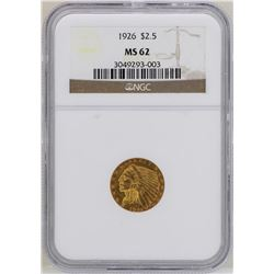 1926 $2 1/2 Indian Head Quarter Eagle Gold Coin NGC MS62