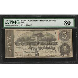 1863 $5 Confederate States of America Note T-60 PMG Very Fine 30