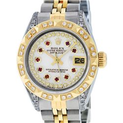 Rolex Ladies Two Tone 14K MOP Ruby & Pyramid Diamond Datejust Wriswatch