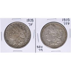 Lot of (2) 1878 7TF $1 Morgan Silver Dollar Coins