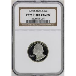 1993-S Washington Silver Proof Quarter Coin NGC PF70 Ultra Cameo