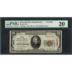 1929 $20 National Currency Note Edwardsville, PA CH# 9862 PMG Very Fine 20