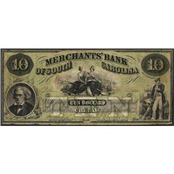 1857 $10 Merchants Bank of South Carolina Obsolete Note