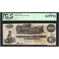 1862 $100 Confederate States of America Note T-39 PCGS New 62PPQ