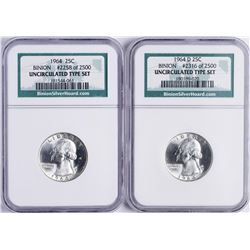 Lot of (2) 1964 & 1964-D Washnigton Quarter Coins NGC Uncirculated Binion Hoard