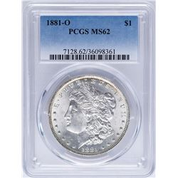 1881-O $1 Morgan Silver Dollar Coin PCGS MS62