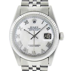 Rolex Men's Stainless Steel Mother Of Pearl Roman Datejust 36MM Wristwatch Datej