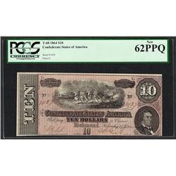 1864 $10 Confederate States of America Note T-68 PCGS New 62PPQ