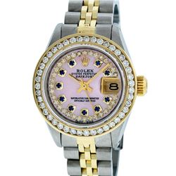 Rolex Ladies Two Tone 14K Pink MOP Sapphire String Diamond Datejust Watch