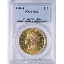 1890-S $20 Liberty Head Double Eagle Gold Coin PCGS MS61