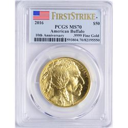 2016 $50 American Buffalo Gold Coin PCGS MS70 First Strike