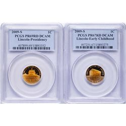 Lot of (2) 2009-S Lincoln Cent Proof Coins PCGS PR67RD/PR69RD Ultra Toning