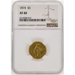 1874 $3 Indian Princess Head Gold Coin NGC XF40