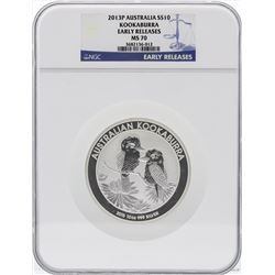 2013P Australia $10 Kookaburra 10 Ounce Silver Coin NGC MS70 Early Releases